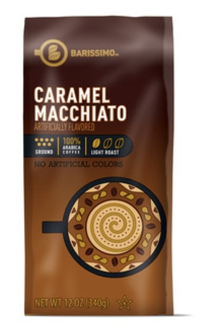 Barissimo CARAMEL MACCHIATO Flavored Ground Coffee 12oz (Light R